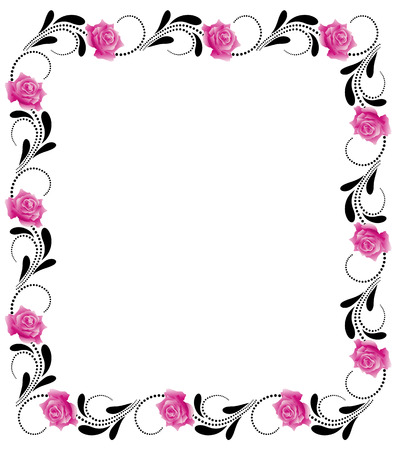 Decorative flowers frame with pink roses Vector