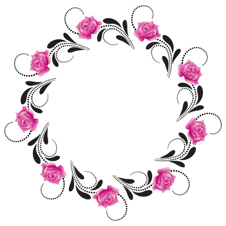 Decorative round frame with pink roses Vector