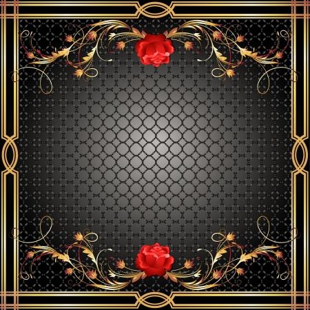 retro art: Achtergrond met gouden versiering en rode roos Stock Illustratie