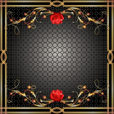 roses rouges: Fond avec l'ornement d'or et rose rouge