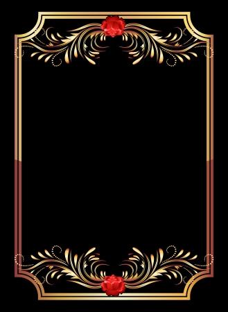 rosas negras: De fondo con adornos de oro y rosa roja