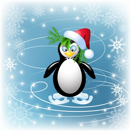 Amusing penguin skates and snowflakes Vector