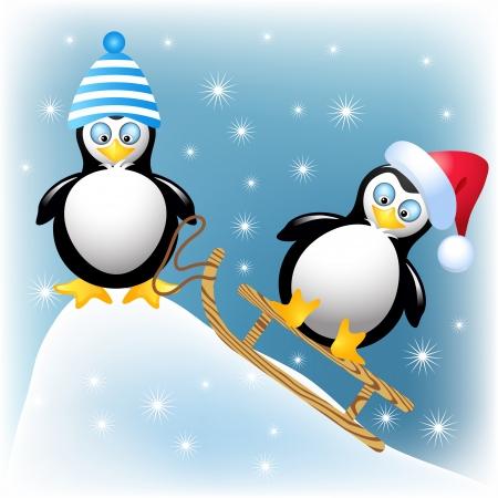 sledding: Funny penguins with sledding Illustration