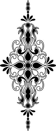 Verticale en symmetrische decoratieve ornament