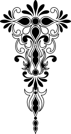 Vertical and symmetrical decorative ornament Illustration