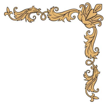 Decoratieve hoek ornament in retro stijl