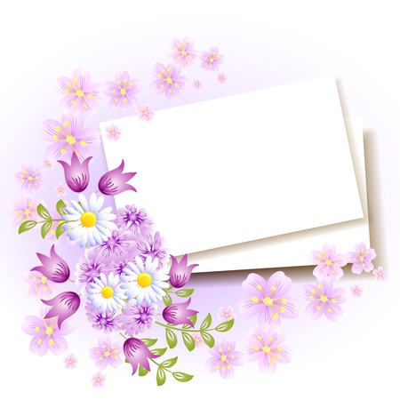 Background with paper and flowers for insert text or photo
