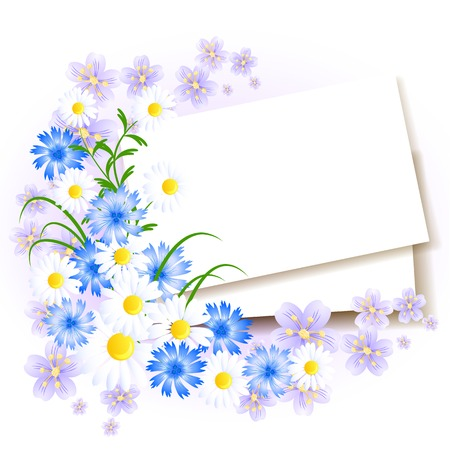 excoriation: Background with paper and flowers for insert text or photo