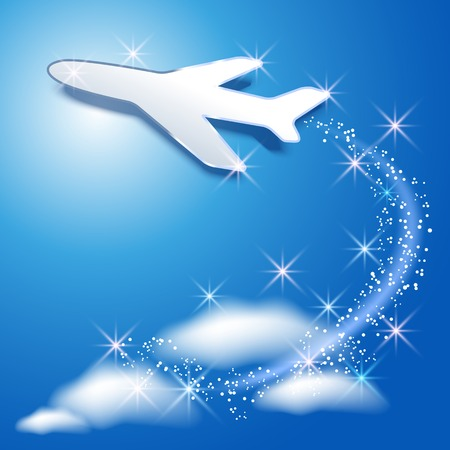 fly up: Airplane fly up in the sky and glowing sparkle Illustration