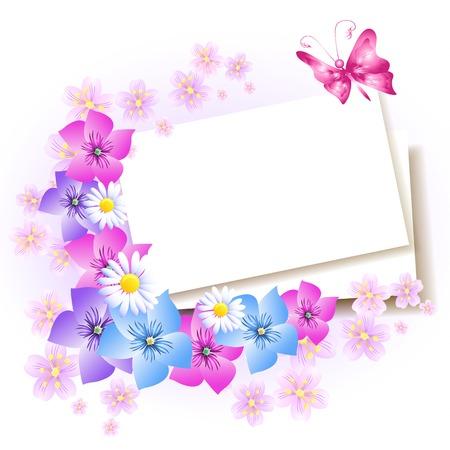 Fond avec du papier et des fleurs pour insérer le texte ou la photo Banque d'images - 27081791