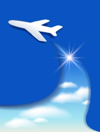 nubes cielo: Plantilla del aviador con el aeroplano y las nubes del cielo