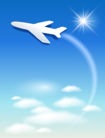 Paper airplane fly up in the sky Stock Vector - 27081799