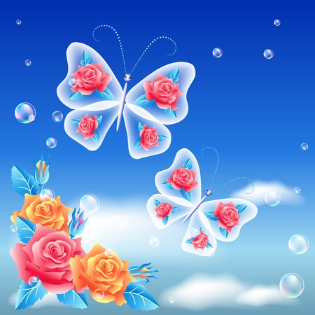 flecks: Roses and butterfly in the sky