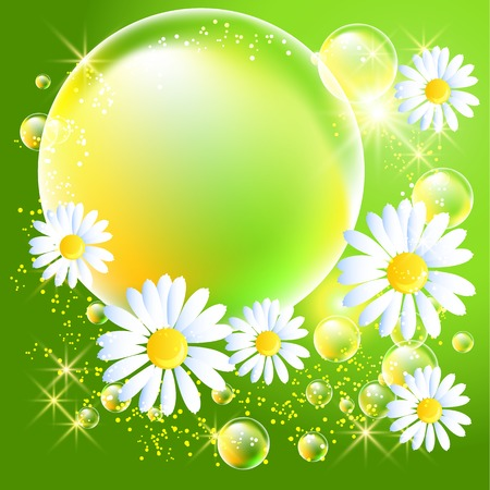 Bubbles and daisy on green glowing background Vector