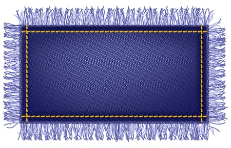 Jeans fabric with fringe Vector