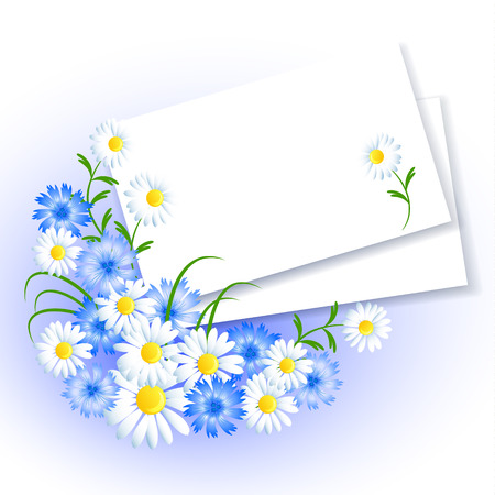 insert: Background with paper and flowers for insert text or photo
