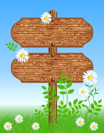 Wooden signboard on the meadow with flowers Vector