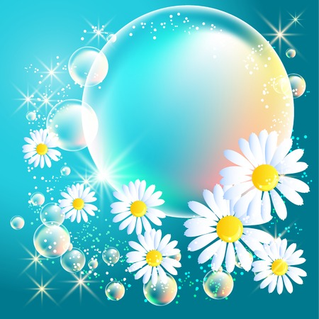 Bubbles and daisy on blue glowing background Vector