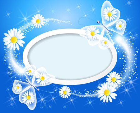 Butterfly with daisy and frame for text or photo Vector