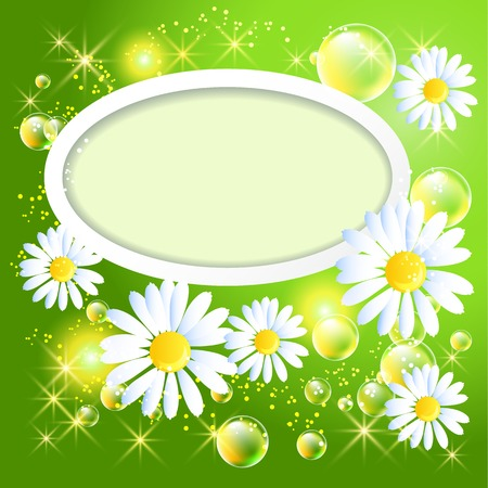 Wite frame with daisy and bubbles on green glowing background