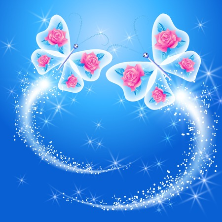 Butterfly and roses in the sky Illustration