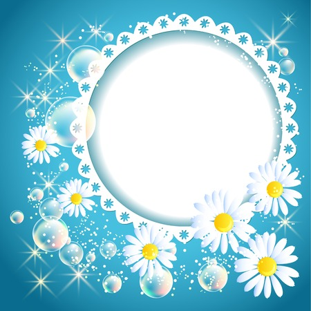Openwork frame with daisy and bubbles on blue glowing background Vector