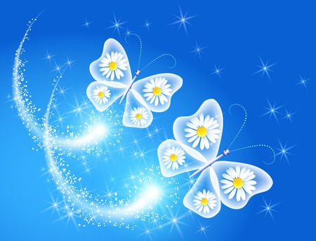 Butterfly and daisy in the sky Vector