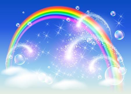 敬礼して空にかかる虹