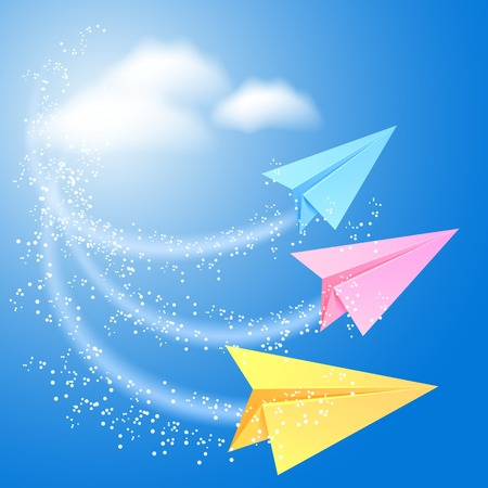 fly up: Three colorful paper airplane fly up in the sky