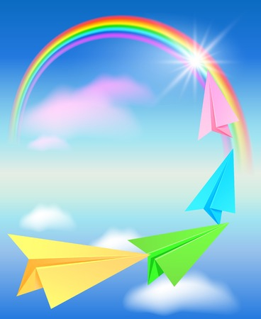 Colorful paper airplane flying to the rainbow Vector