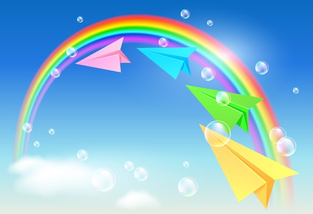 natural arch: Colorful paper airplane flying to the rainbow Illustration