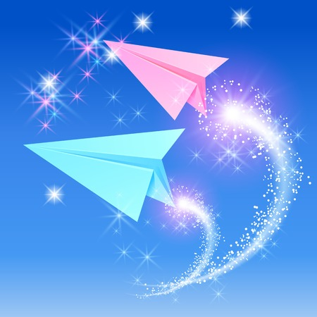 Two paper airplane and glowimg stars in the sky Vector