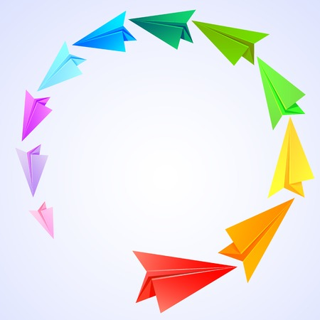 Colorful paper airplanes flying round Vector