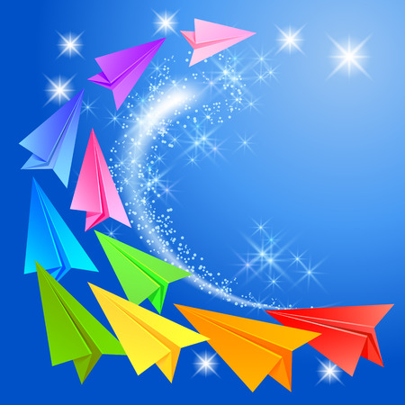 Colorful paper airplanes and glowing stars in the sky Vector