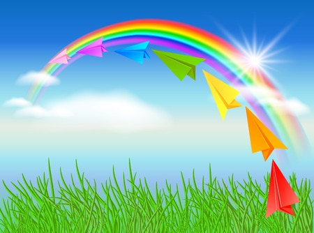 Colorful paper airplane and rainbow Vector