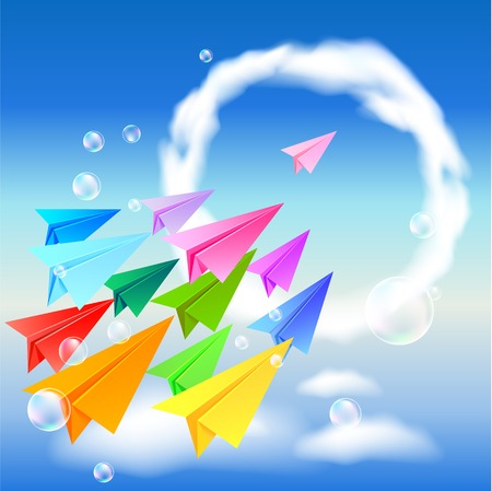 Colorful paper airplanes flying in the sky Vector