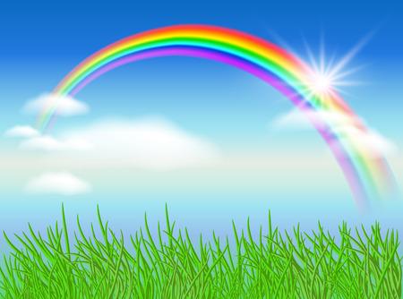 rainbow sky: Rainbow, sun and blue sky