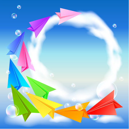 natural arch: Colorful paper airplanes flying round in the sky Illustration