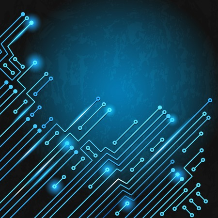 Drawing modern electronic circuit on blue grungy background Vector