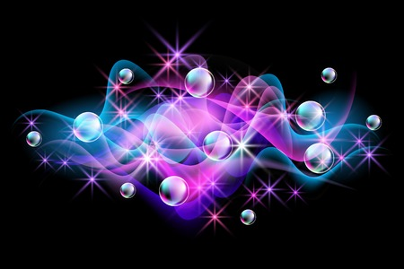 Magic glowing background with neon smoke, shining stars and fi spectacular bubbles Vector