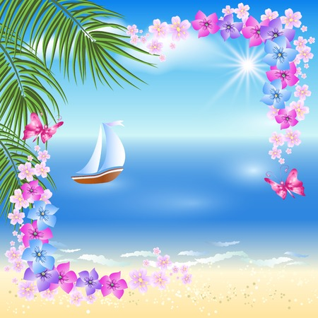 sandy: Sandy beach with palm trees, flowers frame and Sailing boat in the distance