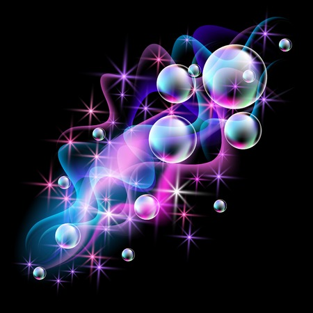 spectacular: Magic glowing background with neon smoke, shining stars and fi spectacular bubbles