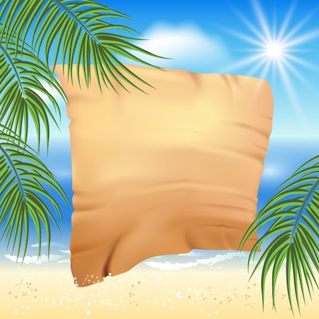 palm branch: Sandy beach, sea, sun, palm trees and old papyrus for text