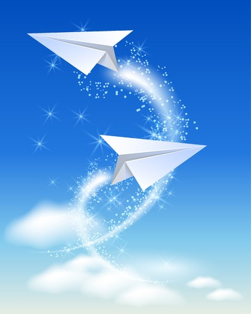 fly up: Paper airplane fly up in the sky and sparkle stars Illustration