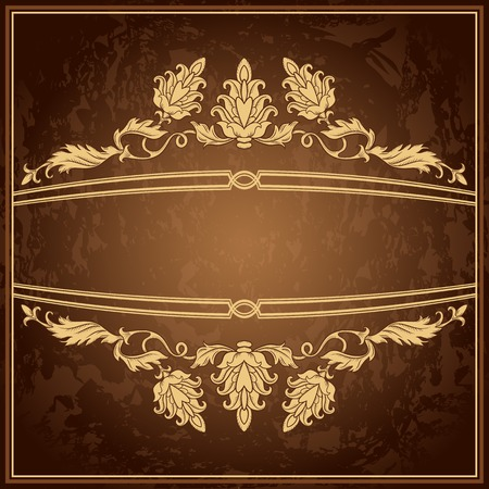 ornament frame: Vintage ornament frame in retro style and luxury royal floral pattern