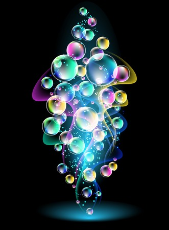 colored smoke: Glowing background with smoke and versicoloured bubbles Illustration