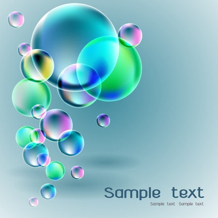 Transparent soap bubble on gray background for banner or advertisement
