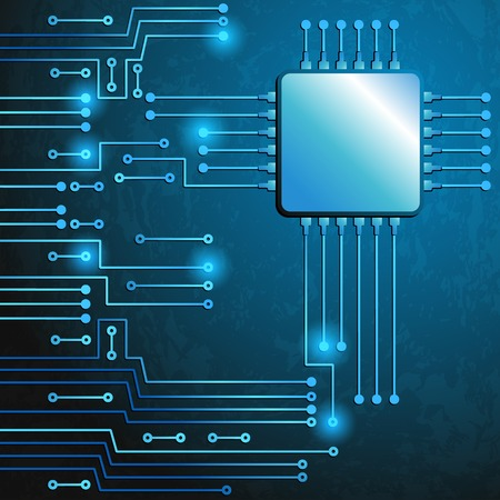 electronic components: Drawing modern electronic circuit on blue grungy background Illustration