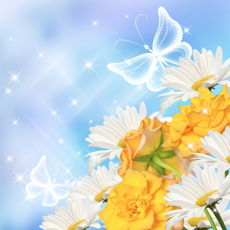 Daisy, yellow roses  and transparent butterflies photo