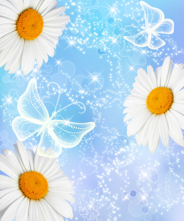 Daisies and transparent  butterflies on blue sparkling background photo